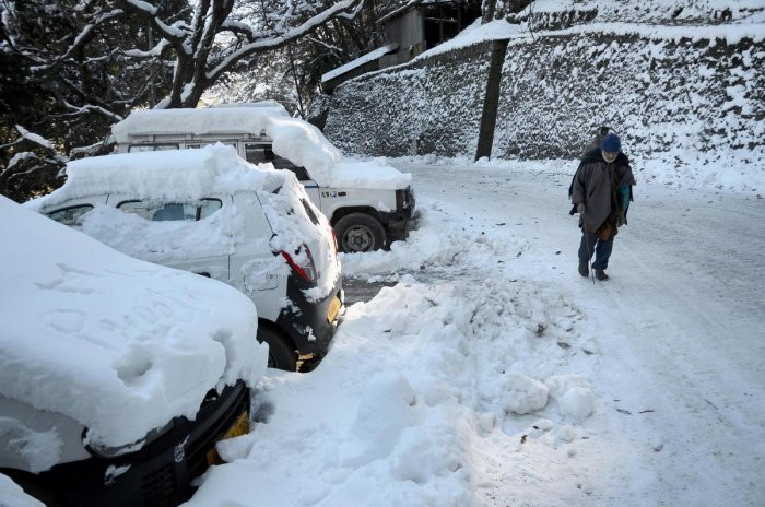 A snow-covered road in Shimla (PTI Photo)