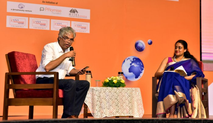Theatre person and film actor Prakash Belawadi speaks during 'Knowledge Factory' at St Agnes College in Mangaluru on Friday.