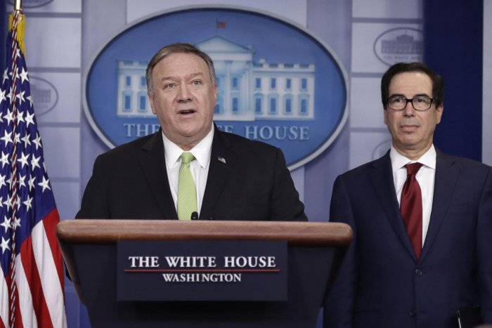 Secretary of State Mike Pompeo and Treasury Secretary Steve Mnuchin brief reporters about additional sanctions placed on Iran, at the White House, Friday, Jan. 10, 2019, in Washington. (AP Photo)