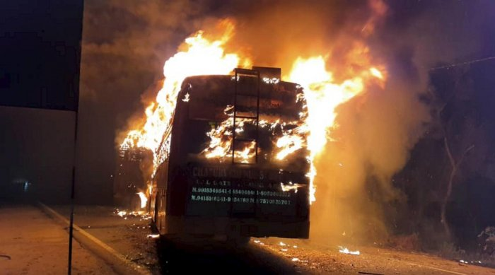 A bus catches fire after collision with a truck on GT Road. at Kannauj in Uttar Pradesh , Friday 10 Jan 2020.. (PTI Photo)