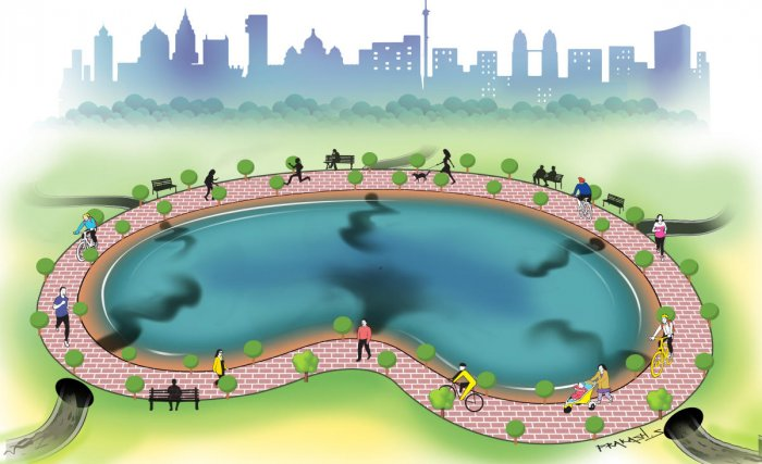 But beyond the plants, jogging tracks and fancy benches, the systemic faults remain potent: Continued inflow of untreated sewage, dumping of solid waste on lakebeds, unchecked encroachments and poor maintenance. (Credit: DH)