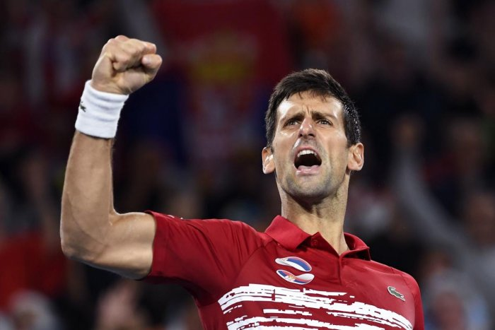 Novak Djokovic of Serbia reacts after winning against Rafael Nadal of Spain in their men's singles match in the final of the ATP Cup tennis tournament in Sydney