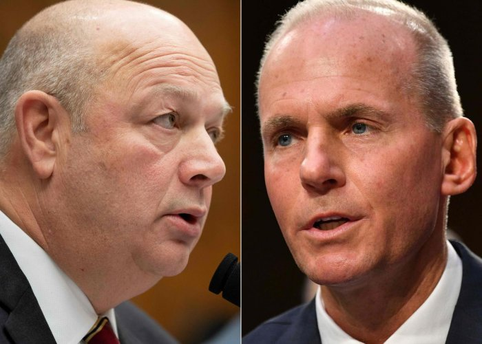 Federal Aviation Administration (FAA) Administrator Stephen Dickson (L) and Boeing President and Chief Executive Officer Dennis Muilenburg. (AFP Photo)