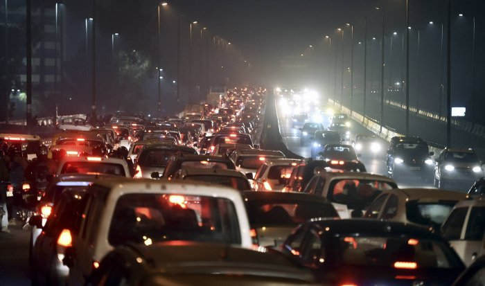 Traffic jam at Barapulla elevated road due to demonstration against Citizenship (Amendment) Act and NRC at Shaheen Bagh in New Delhi,. (PTI Photo)