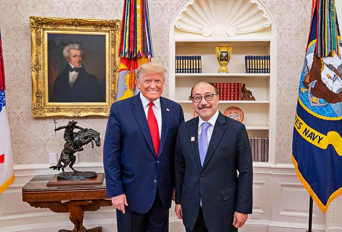 Outgoing Indian Ambassador to the US Harsh Vardhan Shringla with US President Donald Trump during a meeting at the Oval Office in White House. (PTI Photo)