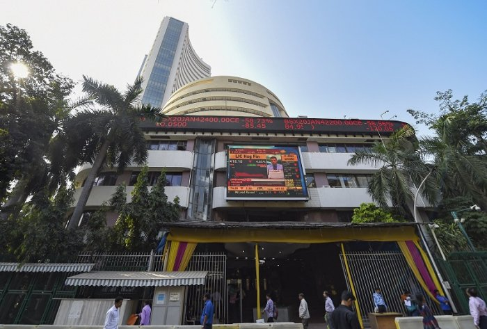 A view of the stock prices displayed on a digital screen outside BSE building in Mumbai. (PTI Photo)