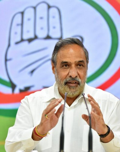 Senior Congress leader Anand Sharma speaks during a press conference at AICC HQ. (PTI PHOTO)