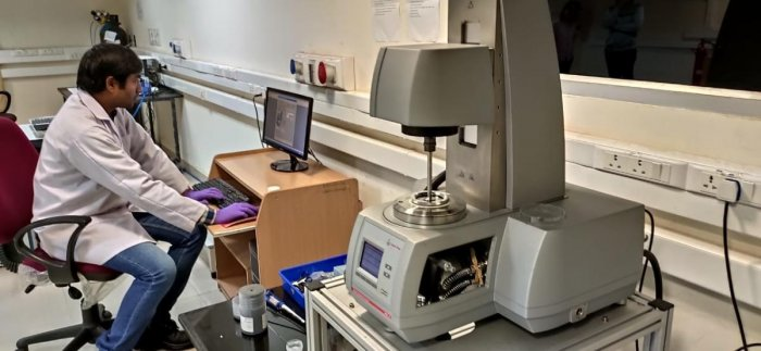 IISc PhD Student Pradip Bera conducts an experiment using a Rheometer on Jan 8, 2019. Researchers at IISc, Raman Research Institute and ETH Zurich have found a novel way to reproduce earthquake effects under lab conditions.