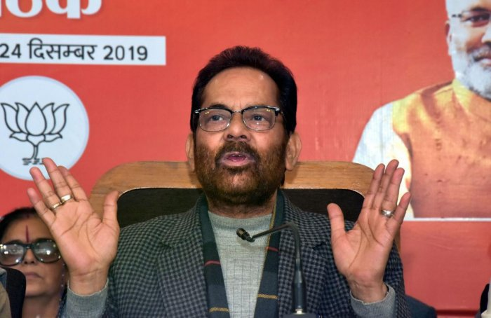 Union Minister Mukhtar Abbas Naqvi addresses a press conference at BJP office in Lucknow. (PTI Photo)