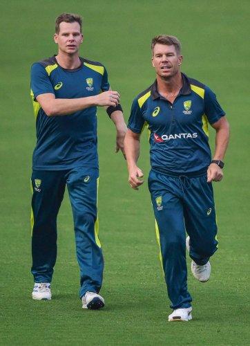 Steve Smith (left) and David Warner's presence bolsters Australia's batting in the series against India. PTI