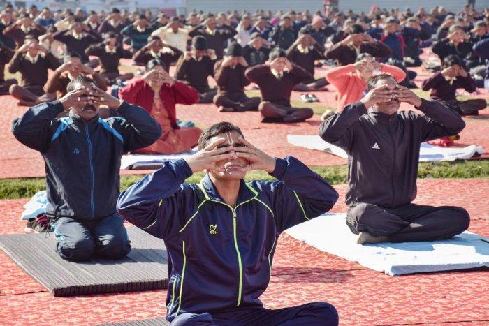 People performing yoga (PTI Photo)