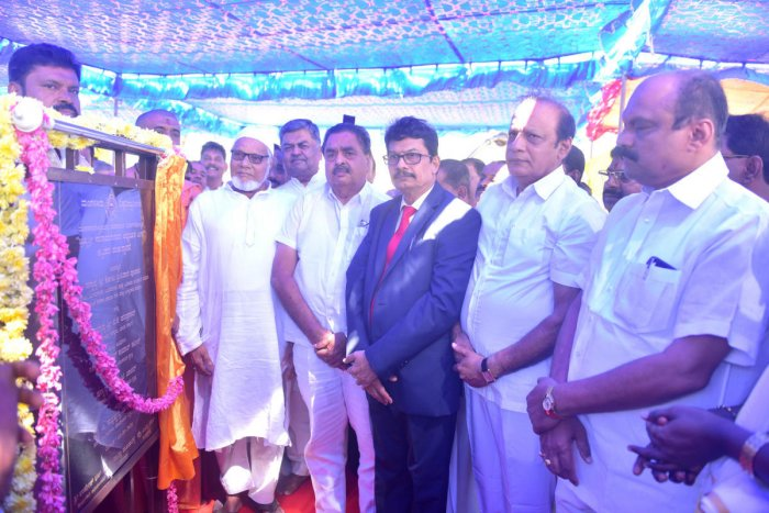 Dignitaries during the ground-breaking ceremony for the Brahmasri Narayana Guru Study Centre building on Mangalore University campus on Sunday.
