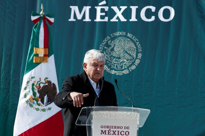 Mexican President Andres Manuel Lopez Obrador gestures as he speaks during his visit to the Mexican-American Mormon community in La Mora, Sonora, Mexico. Photo: Reuters