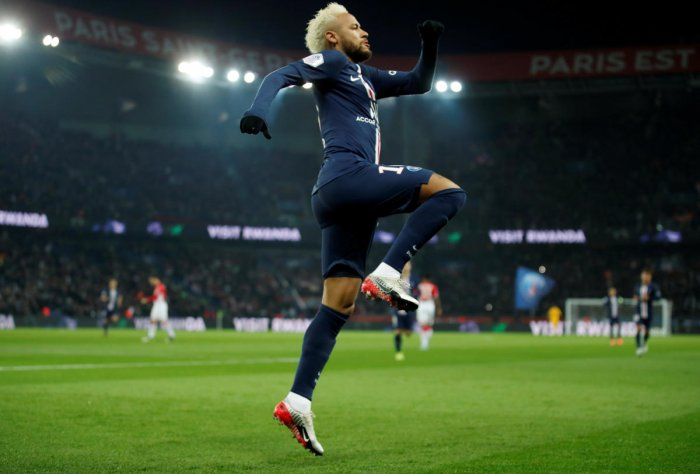 Neymar was the Star of the Night with two goals against Monaco (Reuters Photo)