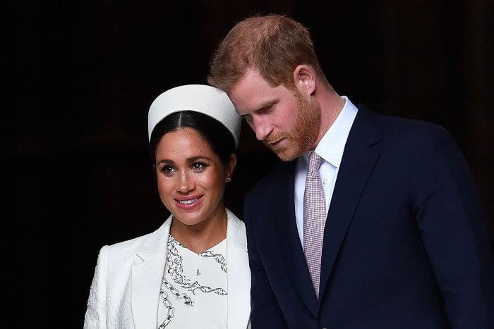 In this file photo taken on March 11, 2019 Britain's Prince Harry, Duke of Sussex (R) and Meghan, Duchess of Sussex leave after attending a Commonwealth Day Service at Westminster Abbey in central London, on March 11, 2019. (AFP Photo)