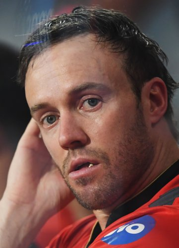 In this file photo taken on April 24, 2017 Royal Challengers Bangalore cricketer AB de Villiers reacts during the 2017 Indian Premier League (IPL) Twenty20 cricket match between Kolkata Knight Riders and Royal Challengers Bangalore. (AFP Photo)