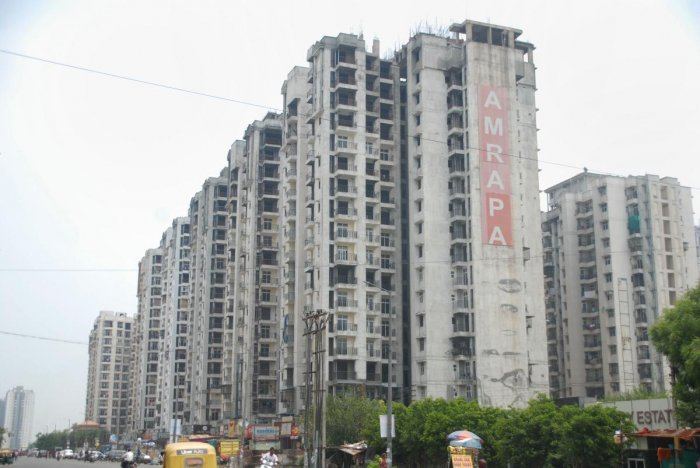 A view of the Amrapali buildings at sector 78, in Noida. (Credit: PTI)