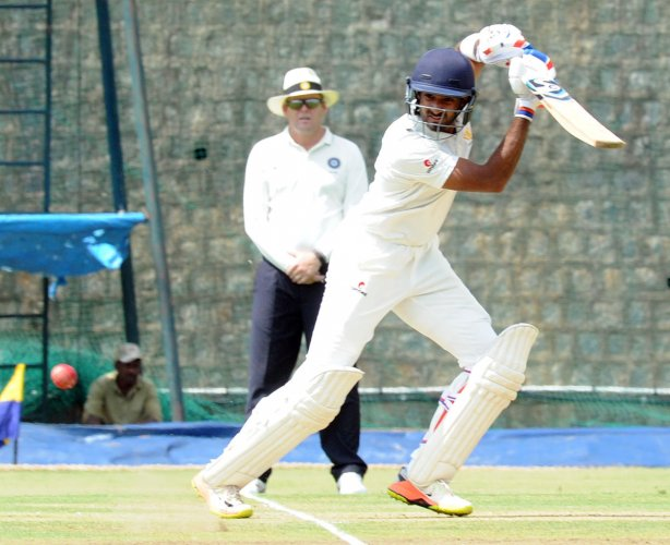 Karnataka's R Samarth played a big role in holding off the Saurashtra attack and help his team to a draw. DH file photo