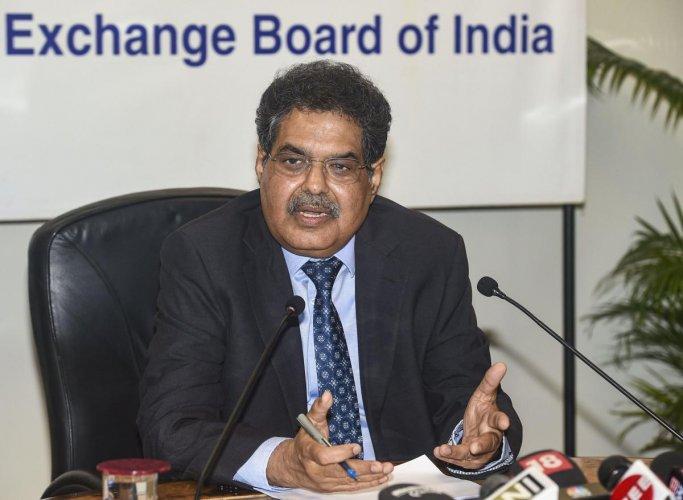 SEBI Chairman Ajay Tyagi addresses a press conference in Mumbai. (PTI PHOTO)