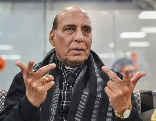 Defence Minister Rajnath Singh at a programme in support of CAA. (PTI PHOTO)