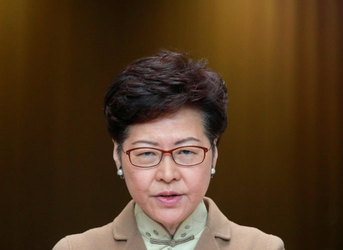 """""""Strengths and resilience, just like our financial systems, have not been undermined despite (the fact) that we experienced considerable social unrest and challenges"""", said Lam referring to the aid. (Reuters Photo)"""