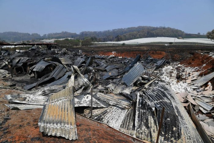 A burnt house is seen after bushfire in Batlow, in Australia's New South Wales state (AFP Photo)