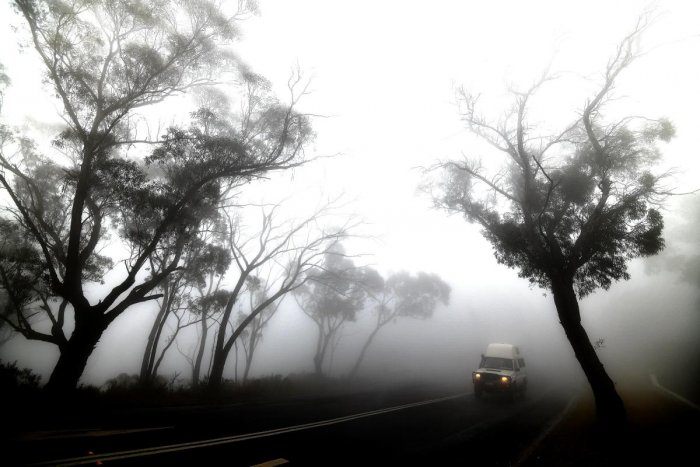 A car makes its way through thick fog mixed with bushfire smoke in the Ruined Castle area of the Blue Mountains, some 75 kilometres from Sydney. (AFP PHOTO)
