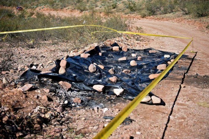 View on January 11, 2020, of the site where nine Mormon women and children were killed on November 4 in Galeana, Chihuahua state, Mexico. (AFP Photo)