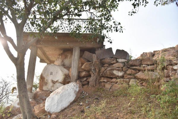 The place which was Muneswara temple under Jesus cross (Sylube) on Kapala hill in Bengaluru rural on Monday, January 13, 2020. ( DH Photo: Janardhan B K)