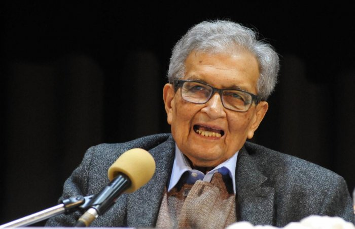 Nobel Laureate Amartya Sen speaks during noted author late 'Nabanita Deb Sen Memorial Lecture' on the occasion of her 83rd birthday,at Rabindra Sadan in Kolkata. (PTI Photo)