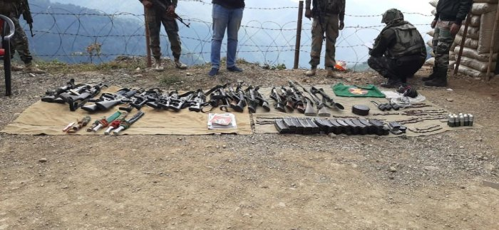 Weapons deposited by NDFB (S) on Sunday. DH photo