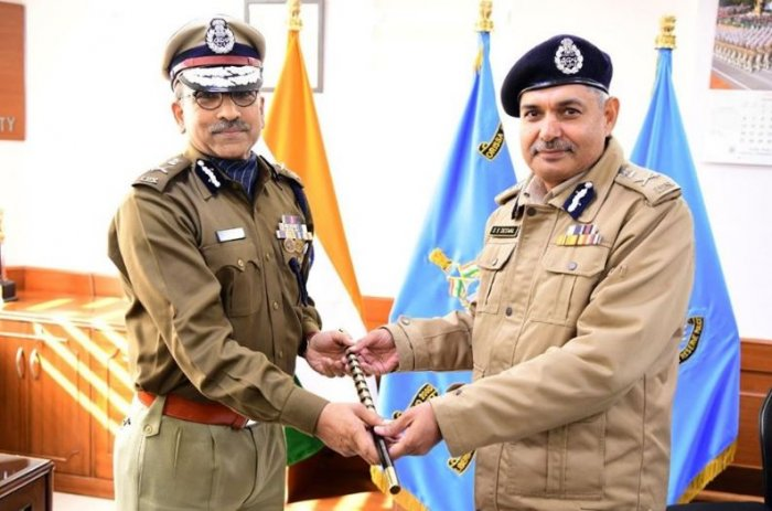 ITBP Director General S S Deswal (R)handed over the ceremonial DG baton to Maheshwari (L) at the Central Reserve Police Force (CRPF) headquarters at the Central Government Offices (CGO) complex at Lodhi Road here, a spokesperson of the force said. Credit: Facebook (CentralReservePolice)