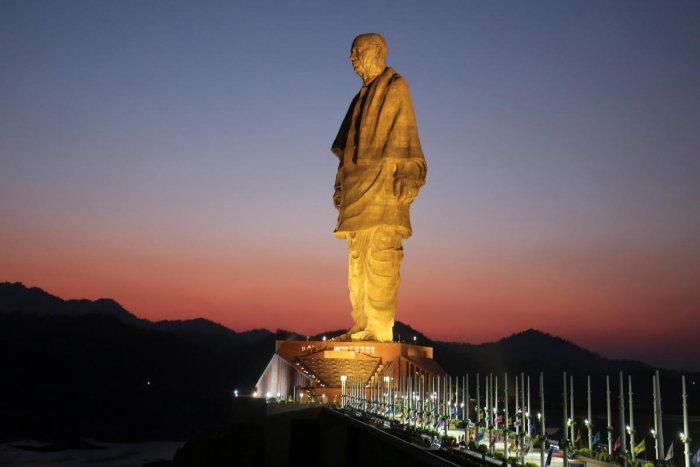 The towering 182-metre statue is at the Sardar Sarovar Dam in Kavadia, Gujarat.