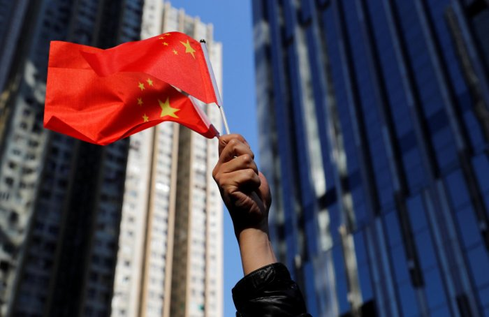 Chinese national flags during a rally in Hong Kong. (REUTERS photo)