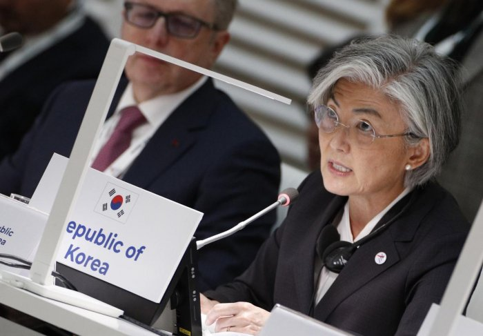 """""""Our basic stance is that North Korea-U.S. talks and inter-Korean dialogue complement each other in a virtuous cycle,"""" said South Korea's Foreign Minister Kang Kyung-Wha (AFP Photo)"""