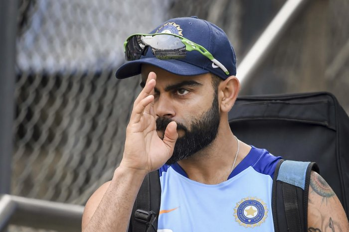 Indian captain Virat Kohli during a training session ahead of the first one-day international cricket match against Australia. (PTI PHOTO)