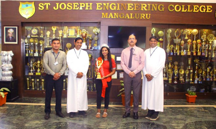 Student Christina George with the faculty of St Joseph Engineering College in Mangaluru.