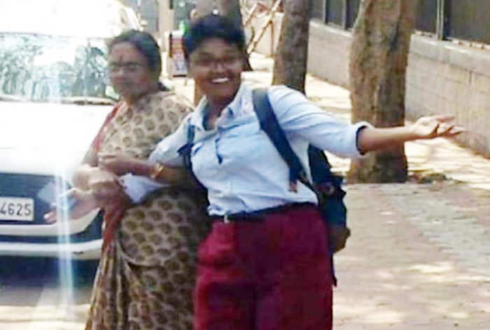 B Nalini being escorted by her mother on the premises of the Court Complex in Mysuru on Tuesday.
