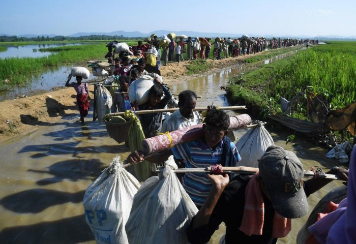 In this file photo taken on November 3, 2017, Rohingya Muslim refugees who were stranded after leaving Myanmar walk towards the Balukhali refugee camp after crossing the border in Bangladesh's Ukhia district. Credit: AFP File Photo