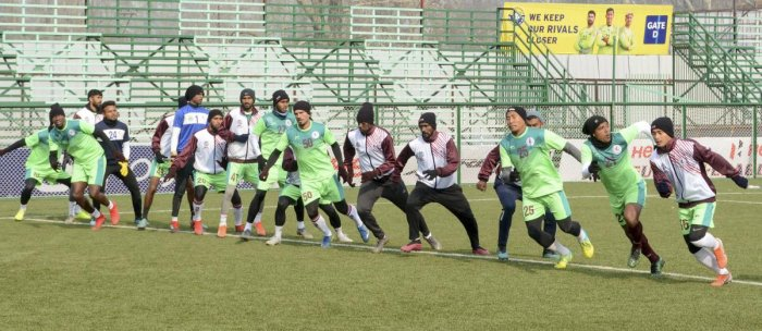 Mohun Bagan Football Club players in action during practise session ahead of their I-League match with Real Kashmir Football Club. PTI file photo