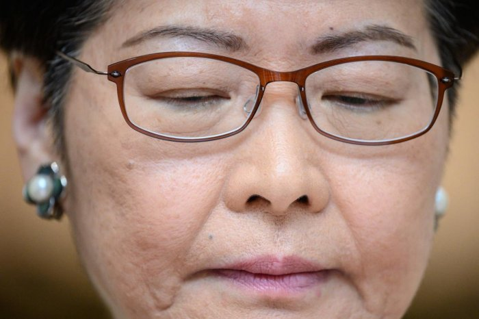 Hong Kong's Chief Executive Carrie Lam takes part in her weekly press conference. (AFP PHOTO)