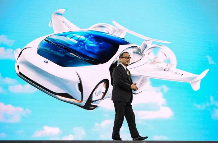Toyota President and CEO Akio Toyoda speaks on January 6, 2020 at the Toyota press conference at the 2020 Consumer Electronics Show (CES) in Las Vegas. (AFP Photo)