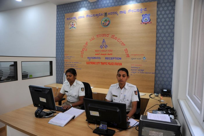 The Electronics City traffic police station boasts a front office to cater to visitors or people in distress. DH photo/Pushkar V
