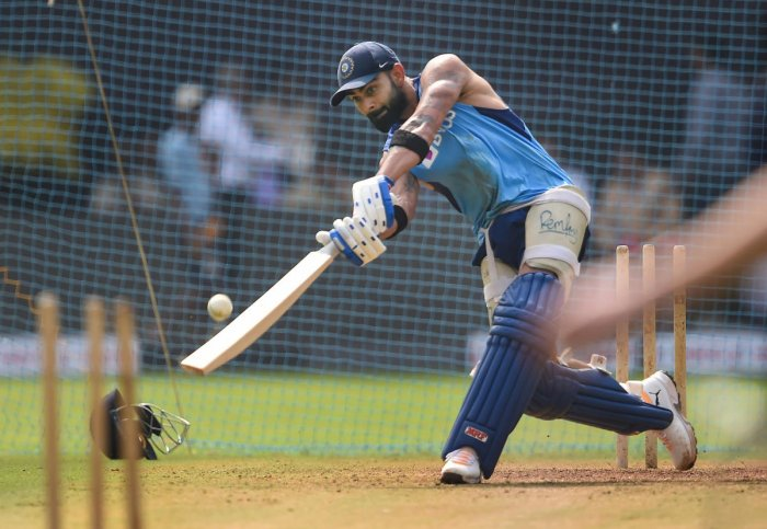 Indian captain Virat Kohli bats during a training session ahead of the first one day international cricket match against Australia at Wankhede Stadium in Mumbai, Monday, Jan. 13, 2020.(PTI Photo)