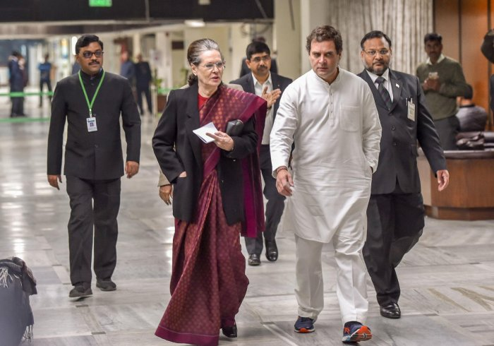 Congress interim President Sonia Gandhi along with party leader Rahul Gandhi. (PTI photo)