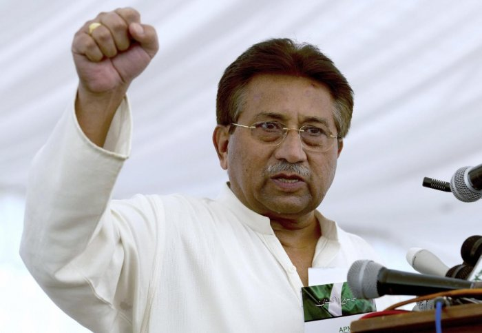 Pakistan's former President and military ruler Pervez Musharraf addresses his party supporters at his house in Islamabad, Pakistan. (PTI PHOTO)