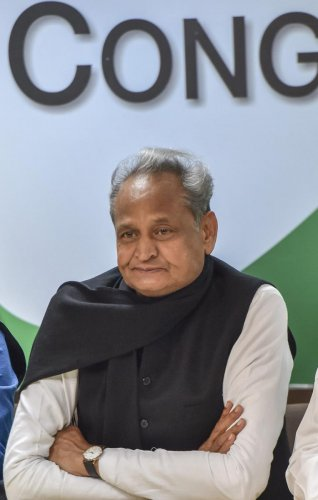 """In a press conference held on December 16 last year, Gehlot allegedly said that """"vigyapan chahte ho toh hamari khabar dikhao"""" (if you want advertisements, publish or telecast our news). Credit: PTI"""