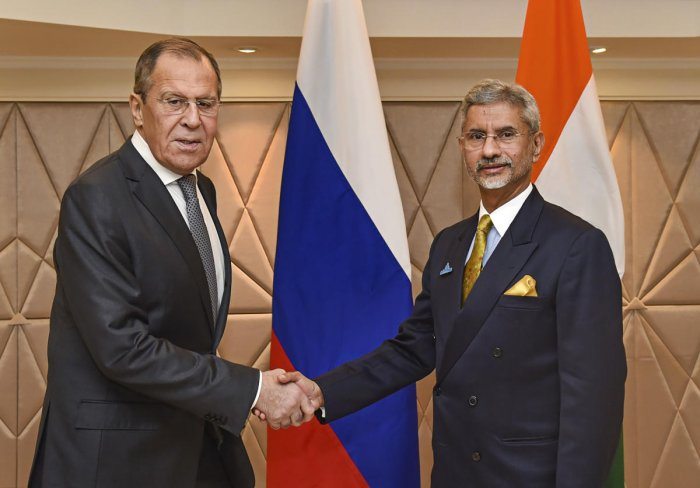 Exernal Affairs Minister S Jaishankar shakes hands with Minister of Foreign Affairs of Russia Sergey Lavrov during Raisina Dialogue 2020, in New Delhi, Wednesday, Jan. 15, 2020. (PTI Photo)