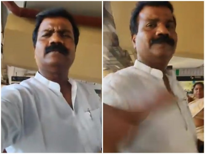Corporator hits woman journalist while she recorded video. (Video screengrab)