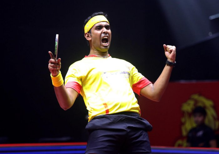 Unless the team comprising G Sathiyan (world rank 30), veteran Sharath Kamal (WR 33) (in pic) and Harmeet Desai (WR 86) play badly, India should not have a lot of difficulty in making the Olympic cut. Credit: PTI